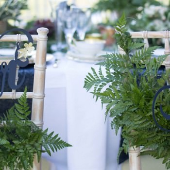 papercut Mr and Mrs chair backs with fern foliage