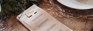 rustic brown paper menu with place card