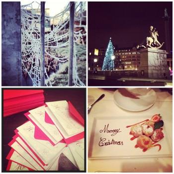 icy spiderweb, Trafalgar Square, Christmas cards, dessert
