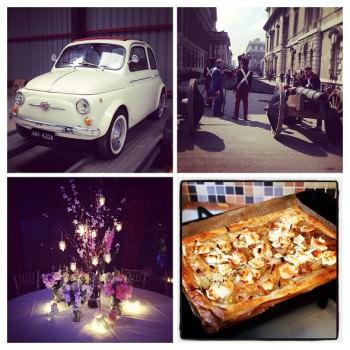 wedding car, Greenwich film set, wedding table flowers, goats cheese tart