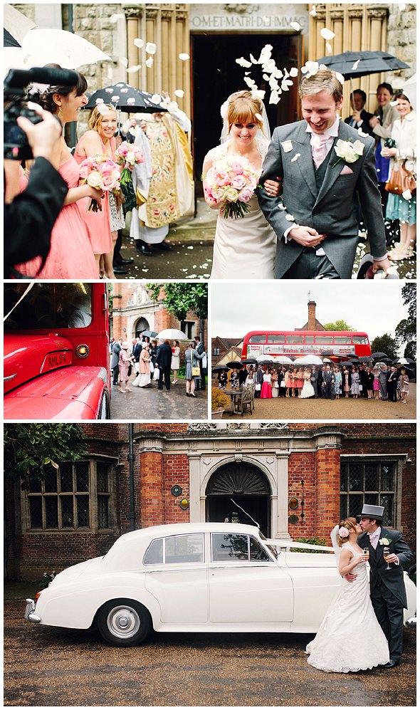bride and groom exit church , confetti thrown, rolls royce wedding car