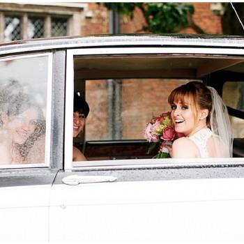 bride wating in car