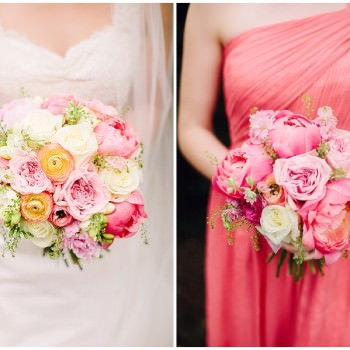 pink coral peonies wedding bouquets