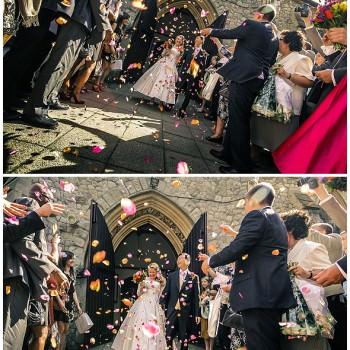 Wedding ceremony confetti shot