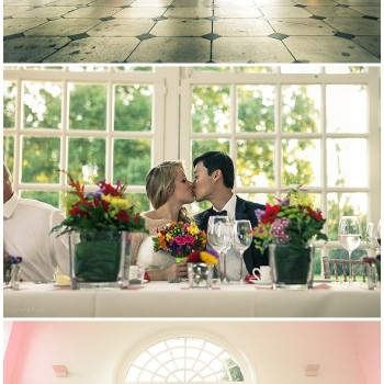 Wedding reception at the Orangery Bride and groom kissing at top table
