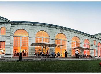 the Orangery kew garden wedding reception at sunset