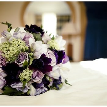 purple and lime green wedding bouquet