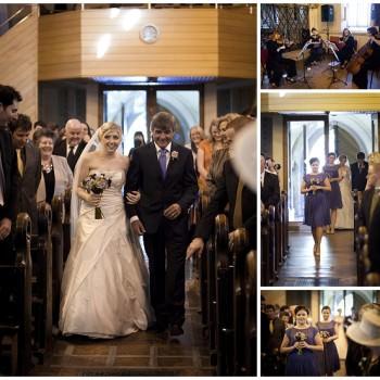 Catholic wedding ceremony brides enters Greenwich church