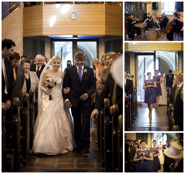 Catholic wedding ceremony brides enters Greenwich church