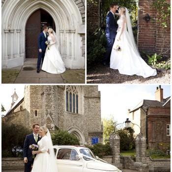 bride and groom exit catholic church London wedding