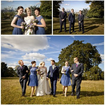bride and groom with bridal party bridesmaids in blue dresses