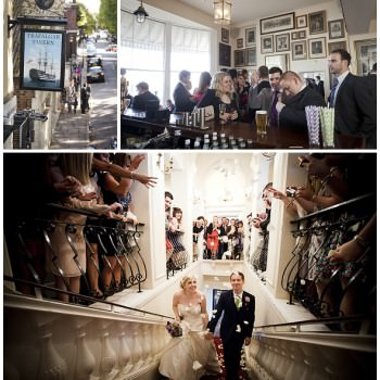 Bride and grrom enter trafalger tavern with confetti