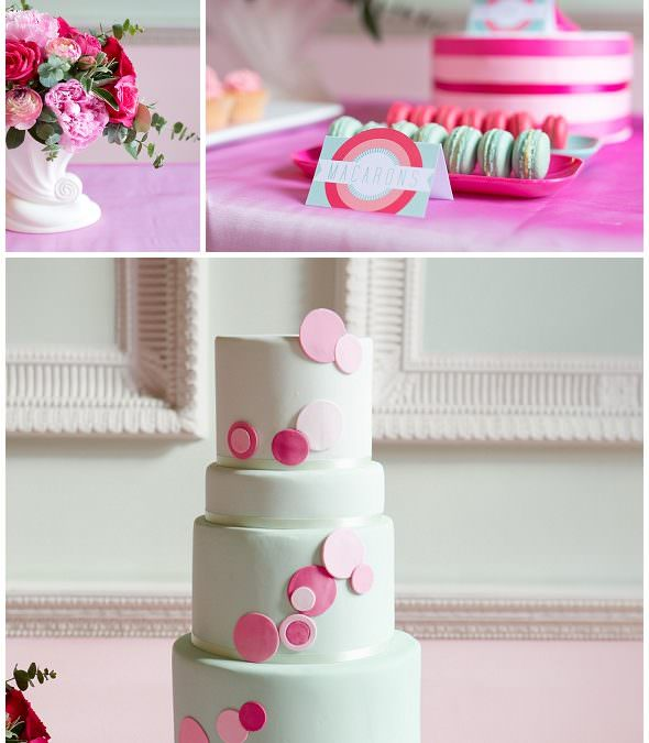 A pink and mint dessert table
