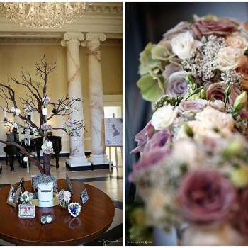 wedding wishing tree and pastel bouquets