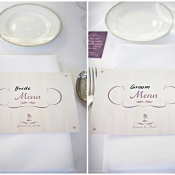 bride and groom menus