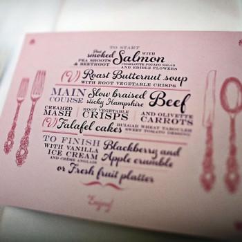 bespoke wedding menu