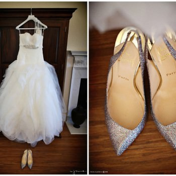 pronovias wedding dress and loboutins weddign shoes