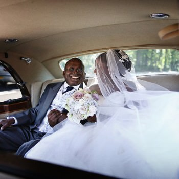 bride with father on the way to church