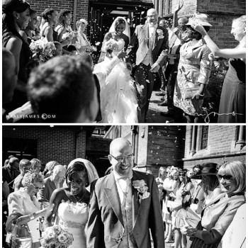 bride and groom exit church with confetti