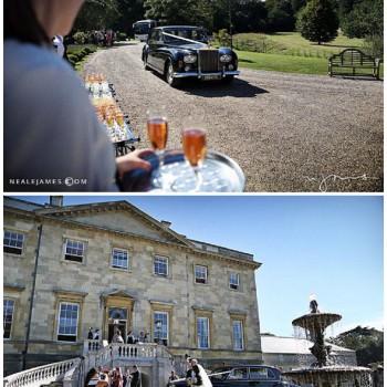 bride and groom arrive at Botleys Mansion