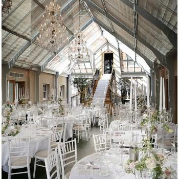Botelys Masion conservatory set up for wedding reception dinner