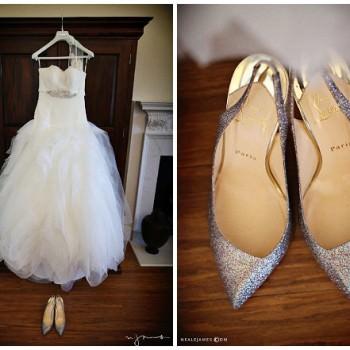 feathered bodice Pronovias wedding dress Sparkly Christian Louboutin shoes
