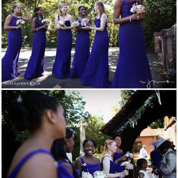 bridesmaids in midnight blue dresses outside church