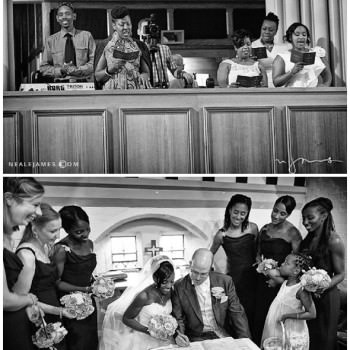 gospel choir sing at wedding bride and groom sign register