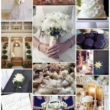 champagne and indigo wedding moodboard