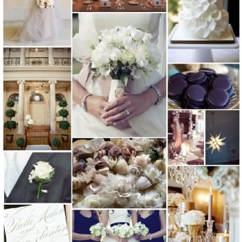 wedding mood board champgne and midnight blue