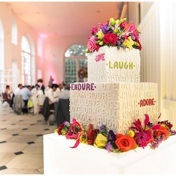 modern typographic wedding cake