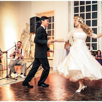 bride and groom swing dancing