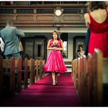 bridesmaid walk up the aisle