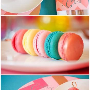 colourful macarons chevron menu Berin Made