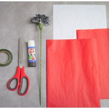 DIY paper poppy materials needed