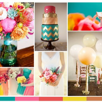 turquoise magenta coral yellow and copper wedding moodboard