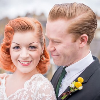 50s bride and groom