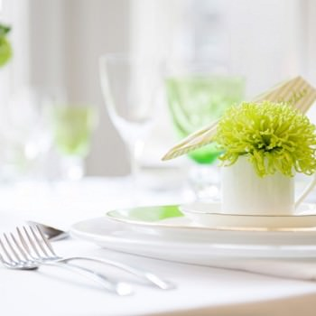 white and lime green table scape