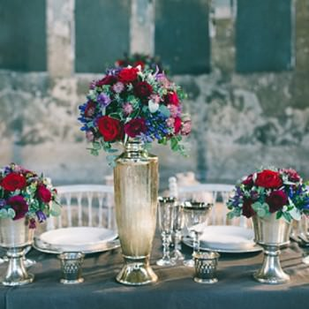 red and purple table scape