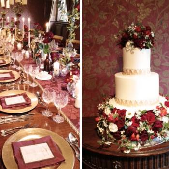 wedding cake and reception table