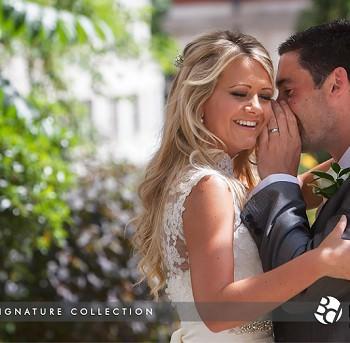 happy bride and groom talking
