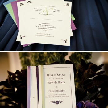 wedding stationery music theme purples and lime