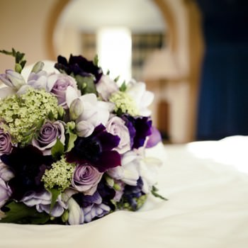 purple lilac and lime wedding bouquet