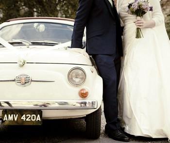 vintage white fiat 500 wedding car
