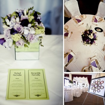 purple and liime green mucis wedding table plan and tablescape