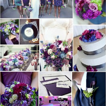 Navy & Purple with plum, pink & lime green wedding colours mood board
