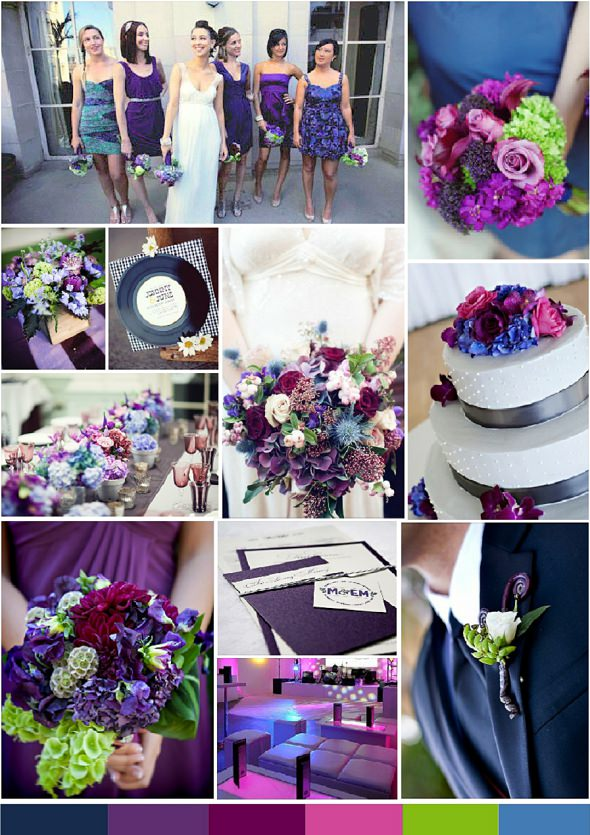 Navy & Purple with plum, pink & lime green - andri