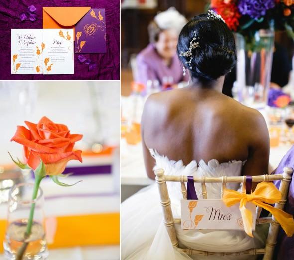 purple and orange wedding reception details