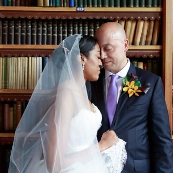 wedding brdie and groom Dulwich College Library