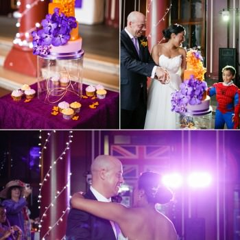 orange and purple orchid ombre wedding cake